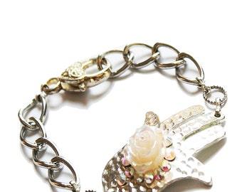 Hamsa bracelet, Hamsa charm bracelet, Evil eye bracelet, gold bracelet, Hamsa, hamsa, hamsa, silver necklace