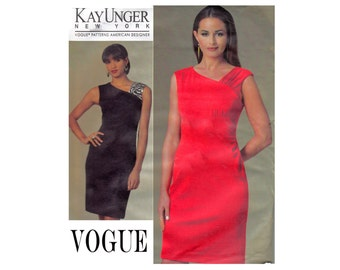 Kay Unger New York Vogue American Designer 1205 Sizes 8 10 12 14 Bust 31 1/2 32 1/2 34 36 Asymetrical fitted dress OOP UNCUT sewing Pattern