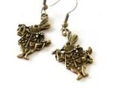 Antiqued Brass Tiny Queen of Hearts Rabbit Bunny Dangle Earrings - C0061