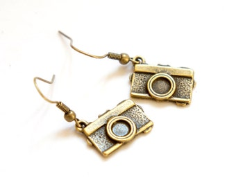 Antiqued Brass Tiny Camera Dangle Earrings - C0019