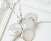 Silver Glass Stone and Pearl Charm Cluster Necklace