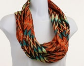 Native look Infinity Scarf - Aztec Design - Soft Silky Orange, Aqua and Brown ~ SK138-L1