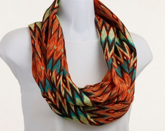 Native look Infinity Scarf - Aztec Design - Soft Silky Orange, Aqua and Brown ~ SK138-L1