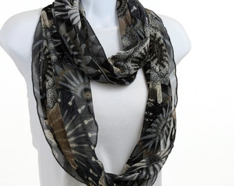 Rich Blue Floral Scarf Dark Blue Tan Taupe Floral collage Sheer SOFT Net Infinity Scarf ~ K098-L5
