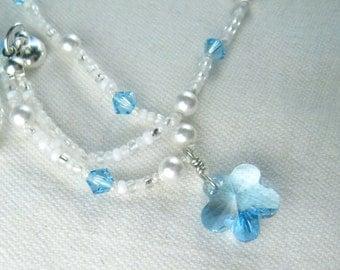 Snow Flower Girls Pendant Necklace, Swarovski Blue Flower & Pearls Princess Jewelry,  Magnetic Clasp,