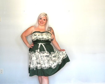 Emerald Lace- Vintage plus size dress -polka dot- cocktail- pinup