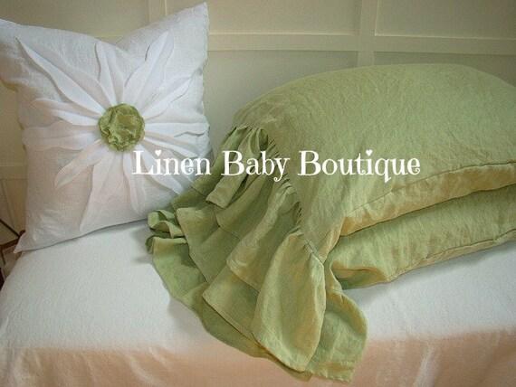 Ruffled Linen Pillow Case Decorative Sham. Sage Green Linen