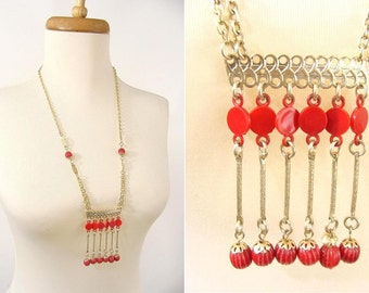 SALE was 38.88. vintage 60s Necklace. Lightweight Red Plastic Tassel Dangle Runway Necklace. Eloxal Necklace. Hong Kong. Summer Jewelry