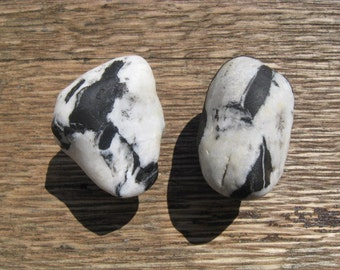 Beach Stone Cabinet Knobs EBONY and IVORY Natural Lake Stone Cabinet Knobs Drawer Pulls