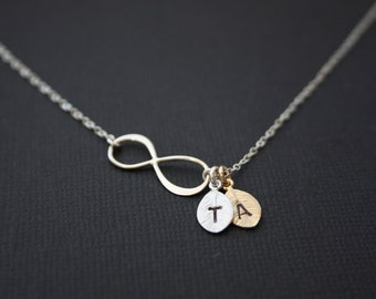 STERLING SILVER  Infinity necklace with Two customized initial leaves ( gold /silver ) - figure 8  forever- love  necklace , family necklace