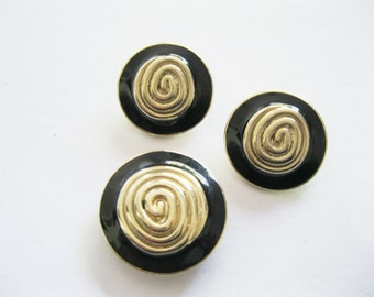 Black Enamel Brooch or Pendant and Earrings Set