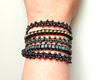 Macrame 5 x Wrap Bracelet Adjustable, Beach Boho Yoga Bollywood Bracelet