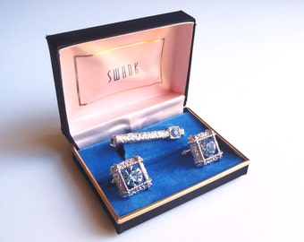 Vintage Swank Cuff Links & Tie Bar Set - Warning: Over the Top 5 Alarm Glitz Factor - Blue Rhinestones + Chrome-like Silver Tone Metal - WoW