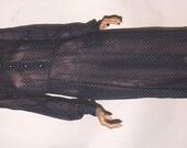 Vintage Post Edwardian Summer Day Dress. 1920. Semi Sheer Navy Dotted Swiss. Antique Dress