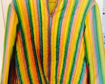 Vintage Reversible Quilted 1960's Ski Jacket, Rainbow Pastel Snow Coat