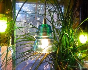 The Original Custom Antique Insulator Light Vintage Blue Glass Light Blue Pendant Light Blue Insulator Light Blue Insulator Lamp Blue light