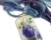 Blue Floral Fused Glass Pendant