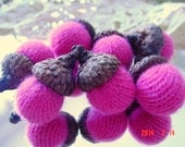 7 Hot Pink CASHMERE ACORNS up-cycled retired sweaters Bowl Fillers Felt Felted Wool Acorn