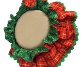 Christmas Plaid RUFFLED DOG COLLAR ruff bandana scrunchie scarf for large size dogs