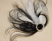 Black Peacock, Off White Feathers Boutique Hair Clip Bridal Fascinator w Rhinestone accents Photo Prop