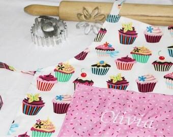 Personalized Retro White Cupcake Child Apron - Custom Made
