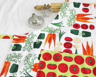 Vegetables and Tomatoes Adult Apron - white