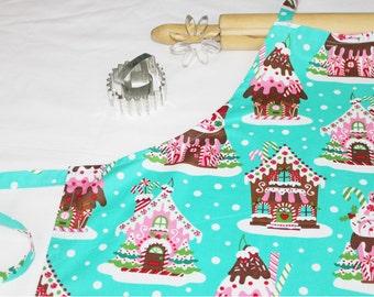 Gingerbread House Adult Apron - aqua