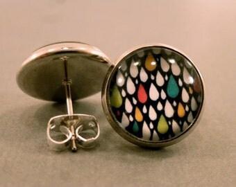 Raindrop Studs: Colourful Raindrop Cabochon Earrings, Fake Plugs, Tear Drops, Weather, Rainy, Geometric