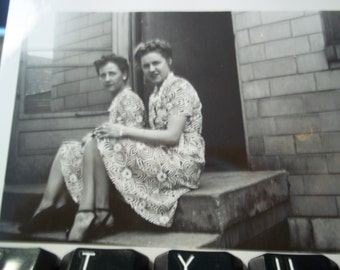 Two Beautiful Woman in Dresses Vintage 1940's Photo Leggy Pinup