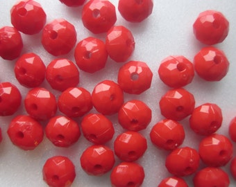 Red Faceted Acrylic Beads Plastic Opaque 8x8mm 10 Beads