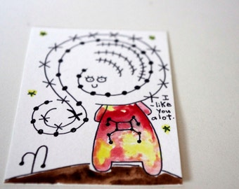 Original Watercolor Illustration ACEO Trading Card I Like You A Lot Kawaii Girl Card, Trading Card, Kawaii Trading Card, Watercolor Original