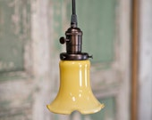 Pendant Lighting with Vintage Honey Gold Glass with Soft Ruffled Edge and Exposed Socket