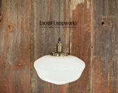 "Pendant Light With Large 12"" Opal Schoolhouse Glass Shade and Exposed Socket Design"