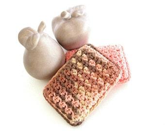 Handmade Crocheted Cotton Dish Pads, Pair Set of Two 2, Peach Tan Beige Brown
