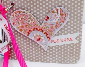 Love forever premade mini scrapbook honeymoon, anniversary, valentine's day mini brag book