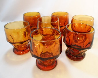 Vintage SET OF 7 Glasses Indiana Glass Tumblers Amber / Gold / Brown Water Juice Drinking Glasses Wine 1960s 1970s Mid Century