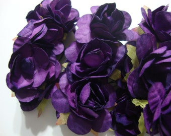 Dark Purple Mulberry Paper Roses Flowers Large - 3 bunches