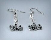 USA Earrings.  Ready to Ship.  Silver.