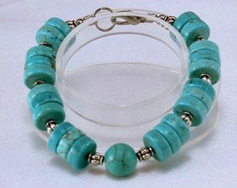 Turquoise Howlite Bracelet with silver beads.  Southwestern.  Chunky Bracelet.