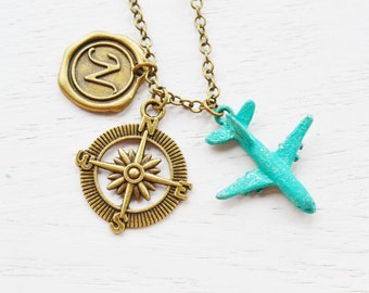 personalized airplane necklace, aviation, world traveler, compass necklace, flight attendant, travel, long distance love, plane aircraft