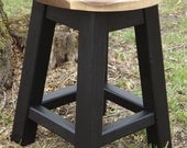 "Reclaimed wood stool/ walnut sapwood/ black/ round stool/ 16"" - 18"" H"