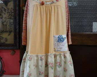 Upcycled XXL Top,Bohemian Top,Women's Top,Eco Top,Shabby Chic Top,by Nine Muses Of Crete.