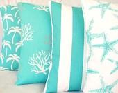 Aqua OUTDOOR Throw Pillow COVERS Aqua White Coastal Nautical Cushion Beach Pillow Four 18 Inch Couch Sofa Pillow Cottage Patio Cushion
