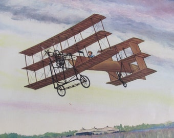 Vintage Early Century Airplane Poster Print - Charles Hubbell - The Avroplane 1909