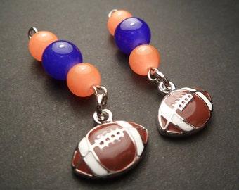 University of Florida football charm dangle earrings, Florida Gators dangle earrings, UF football earrings, blue and orange dangle earrings