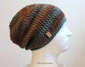 Crochet Slouch Hat Brown Beanie, Mens Beanie, Womens Hat, Blue and Brown Striped, Mens Slouch Beanie, Mens Fashion, Fall Apparel