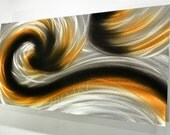 art black gold painting home wall decor office silver metal abstract modern sculpture aluminum Original hand made by Lubo Naydenov - luboart