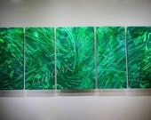 green painting METAL art painting wild flower Country life wall decor original 3D Video modern classy abstract hand made by Lubo Naydenov