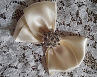 Ivory Satin Hair Bow with Rhinestone Center, Ivory Flower Girl Hair Bow, Hair Bow