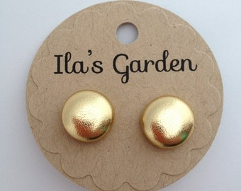 Pale Gold Faux Leather Button Earrings